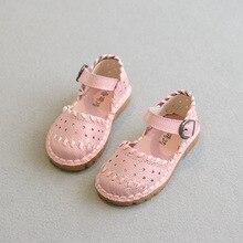 Filles sandales 2016 Été nouvelle princesse sandales enfants chaussures filles en cuir véritable sandales haute qualité plat confort chaussures
