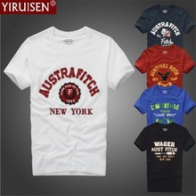 Nemokamas pristatymas YiRuiSen markės drabužiai mens marškinėliai mada 2017 o-kaklas atsitiktinis laiškas pleistras marškinėliai vyrų vasarą atsitiktinis viršutinis tees