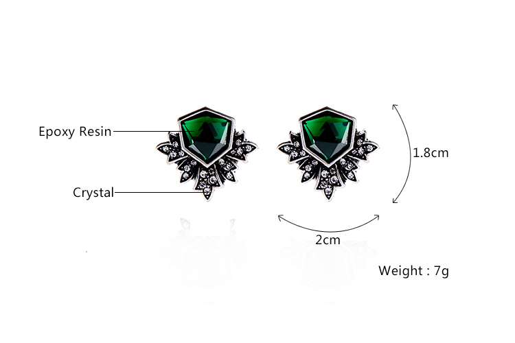 KISS ME Antique Silver Color Green Stud Earrings Fashion Jewelry New - Fashion Jewelry - Photo 3