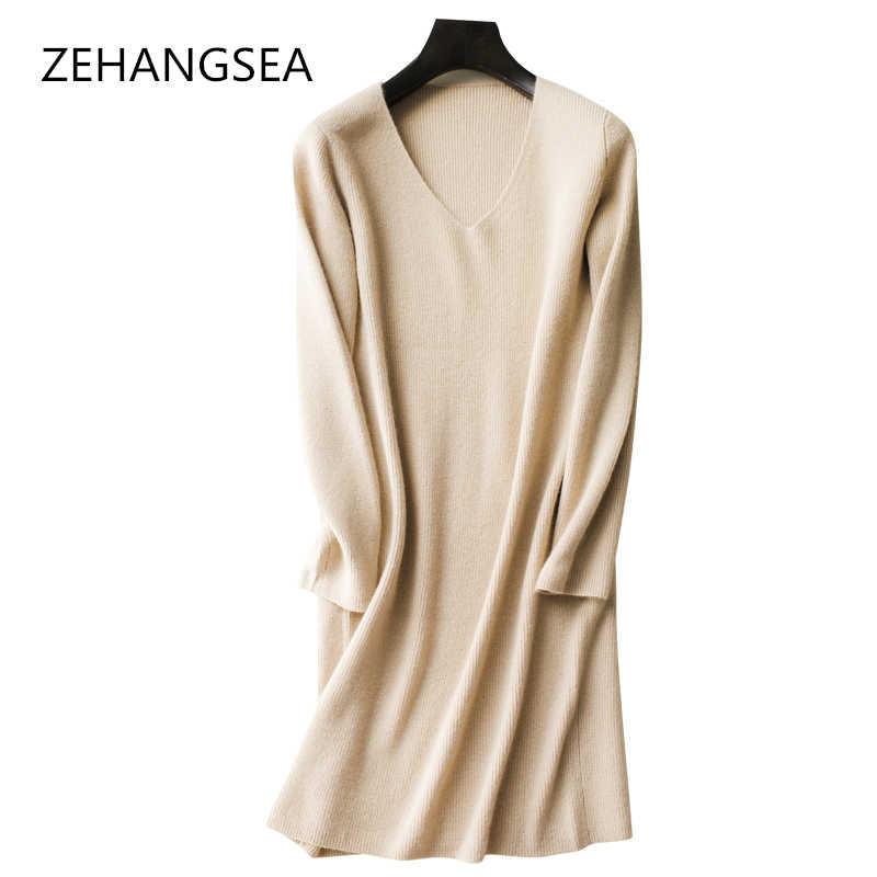 가을과 겨울 고품질 캐시미어 드레스 단색 간단한 v-목 느슨한 부드럽고 편안한 따뜻한 통기성 2018 새로운