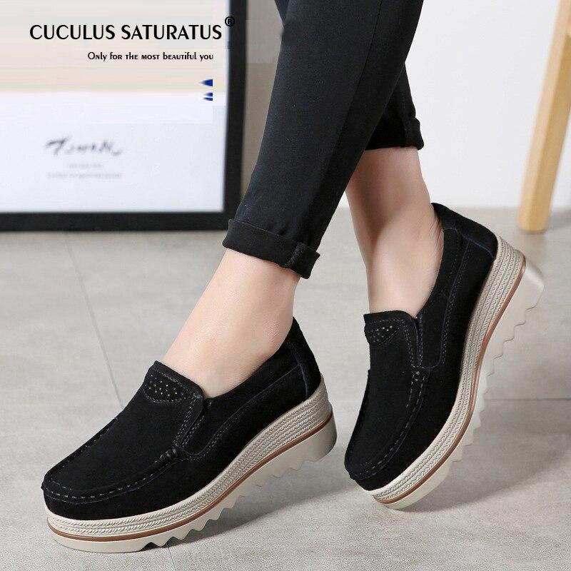 3e47f20d11bf50 Cuculus 2019 Women Flat Platform Shoes Flats Women Cut-out Suede Leather  Slip on Thick