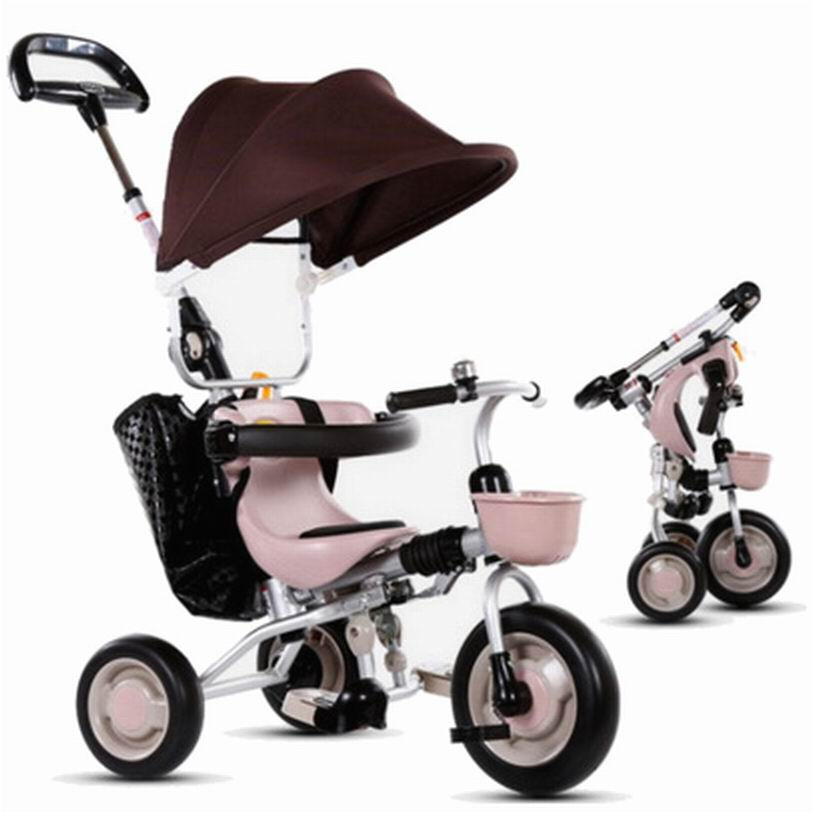 New arrival Child tricycle baby stroller folding trolley  baby bike 1 - 3 - 5 years old  travelling stroller 2016 updated new one touch swivel two way seat child tricycle infant stroller baby bike trolley swivel seat tricycle