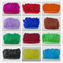 hot sale 10 yards top quality natural goose feather fringe bleached white Goose Feather Trims with Satin Ribbon Tape for skirt