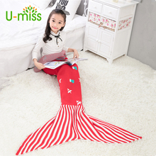 U-miss Children Sleeping Bags Tail For Beds Kids Comfortable Portable Plaid Mermaid Blankets Child Cocoon Costume Home Textile