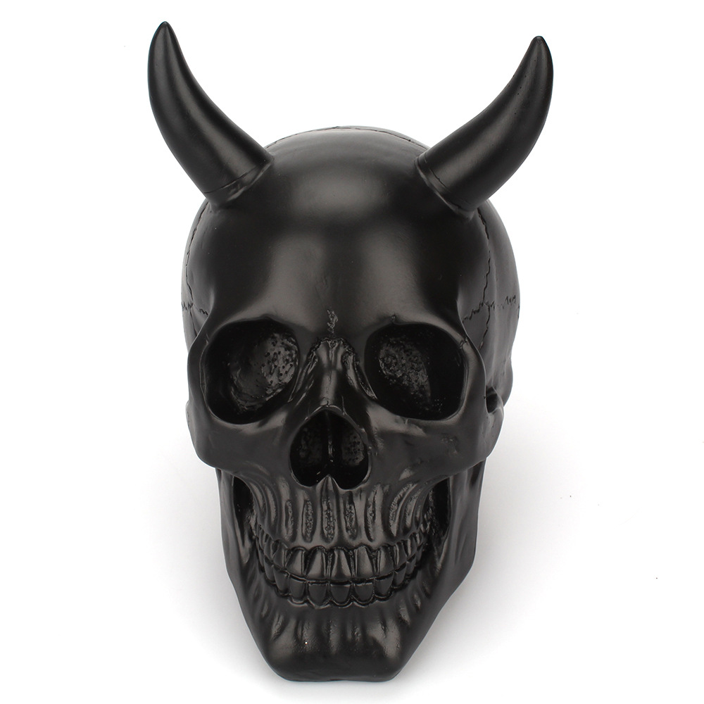 Halloween Horns Skull Decoration Table Ornament Craft Resin Skeleton Head Party Horror Prop Home Bar Statues Sculptures