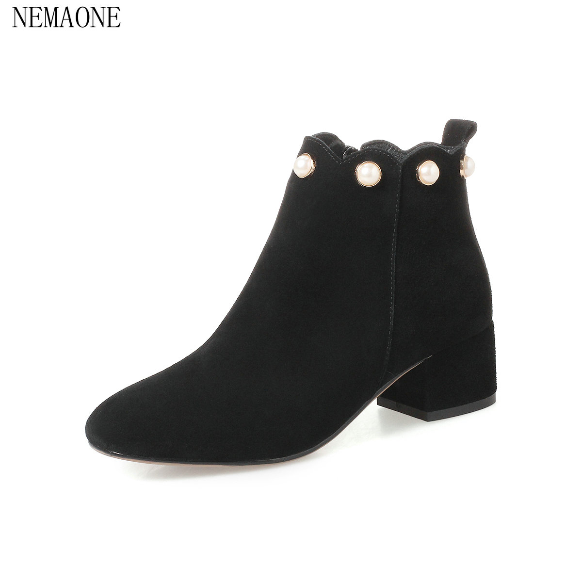 NEMAONE  New 2018 cow suede leather ladies shoes woman ankle boots round toe square high heel zip Autumn black size34-43 only true love women ankle boots full grain leather high square heel round toe shoes woman black