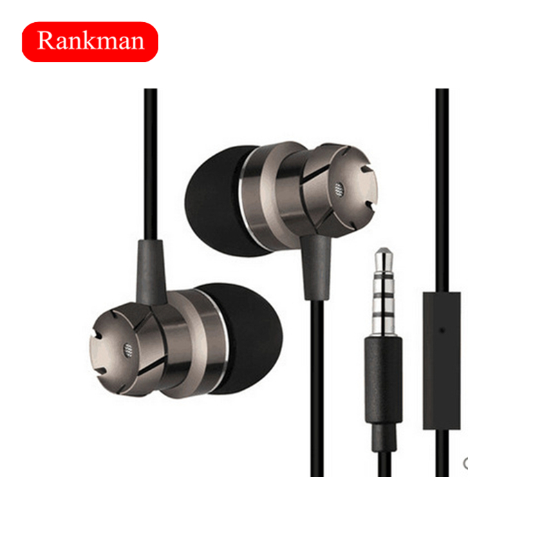Rankman Stereo 3.5mm Plug Earphones Super Bass Sport Running Noise Reduction Earbuds With Mic for Phones MP3/MP4 Player PC
