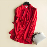 Female Oversized Thin 100% Silk Blouse Woman Summer Silk Shirts Women Seda Shirt Seda Blouse Lady Chemise Loose Breathable Tops