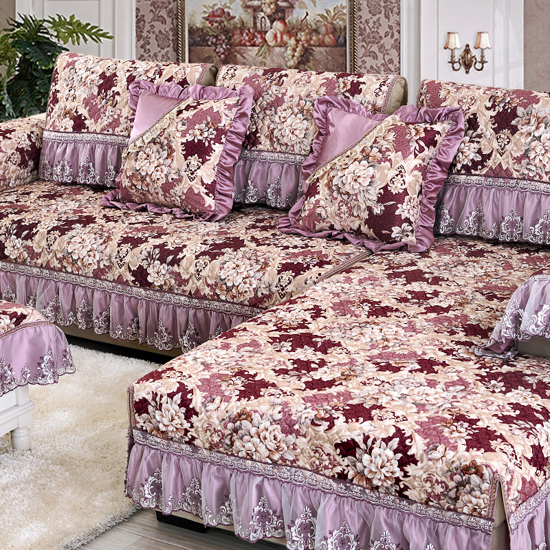1 Piece Plush Sofa Cover Thickening Quilted Embroidered
