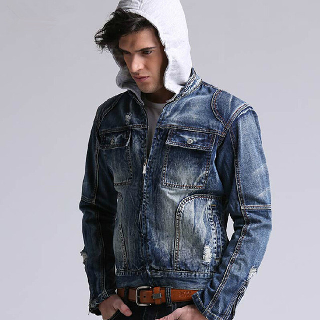 Free Shipping Men's Large Size Denim Jacket Cotton Men Hoodie Jeans Jacket Outerwear Autumn Hooded Coat Denim Jacket K 928