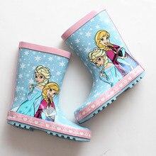 2017 новое прибытие Эльза дождь загрузки персонажа из мультфильма голубой розовый резиновый водонепроницаемый снегоступы резиновые сапоги для девочки дети