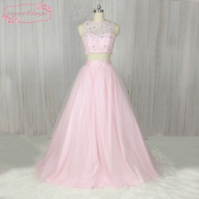 10ca33210e4 SuperKimJo 2018 Two Piece Prom Dresses with Stones Lace Applique Beaded  Pink Prom Gown Vestido De Longo