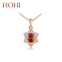 ROXI New Fashion Jewelry Rose Gold Plated Luxury Crystal Zirconia Necklace For Women Flower Pendant For Women Party Wedding