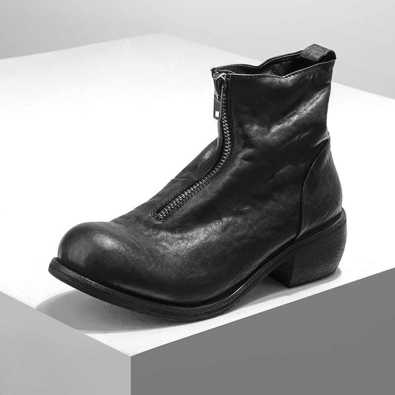 Kış Harajuku erkek tıknaz topuklu ayakkabılar yüksek üst Vintage yuvarlak ayak lüks hakiki deri yarım çizmeler Punk fermuar ayakkabı