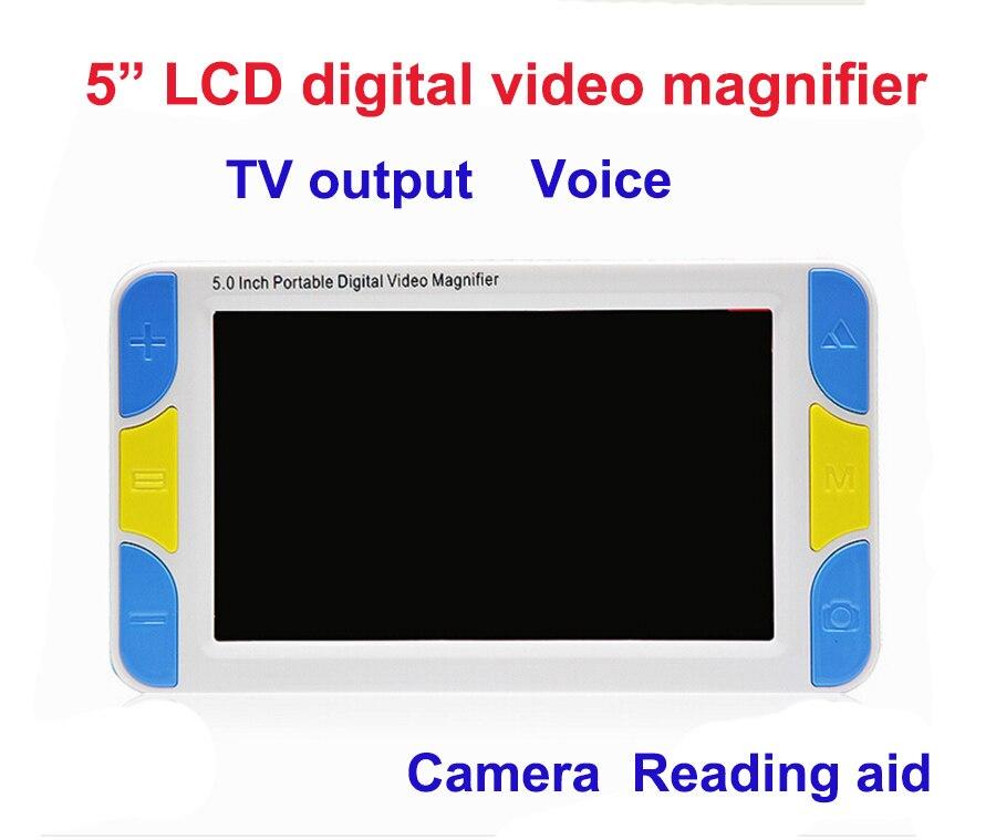 2017 Faible Vision 5 LCD Vidéo de Poche Loupe de Lecture loupe Aide, Numérique Vidéo Loupe électronique microscope