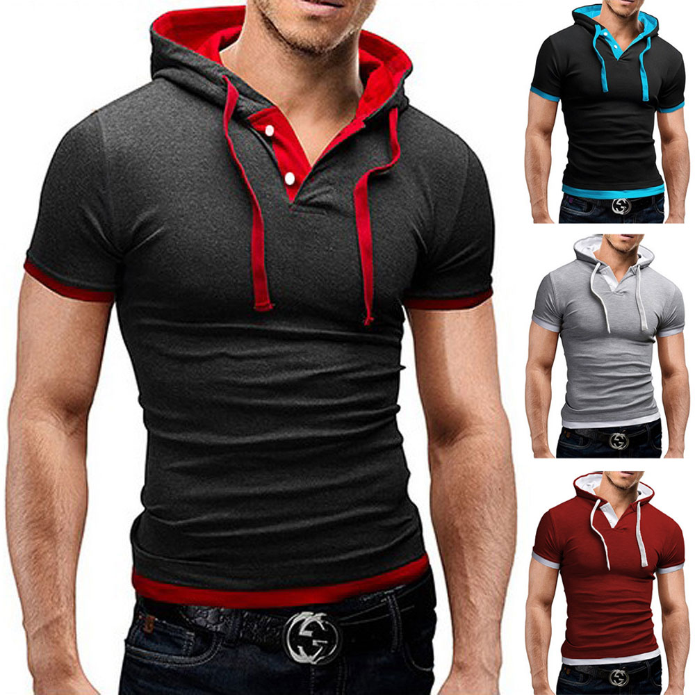 New Arrival Summer mens Hooded t shirt novelty fashion cap t ...