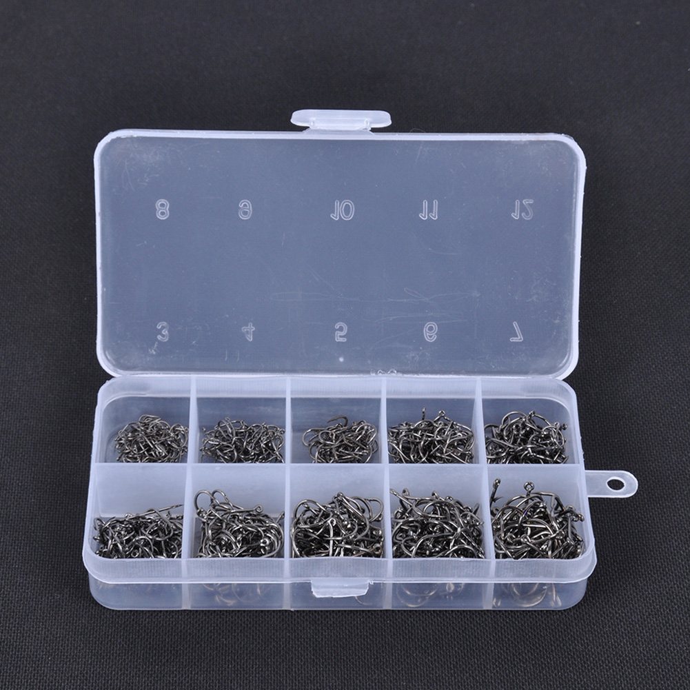 500pcs 10 Sizes 3# -12# Carbon Steel Fish Jig Hooks With Hole Carp Fishing Hook With Tackle Box Gold/Black(China)