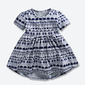 Summer Baby Girls Dress Kids Cotton Soft Dresses Gray Printed Cartoon Patterns Children Clothes Next Clothing Style 1-6 years