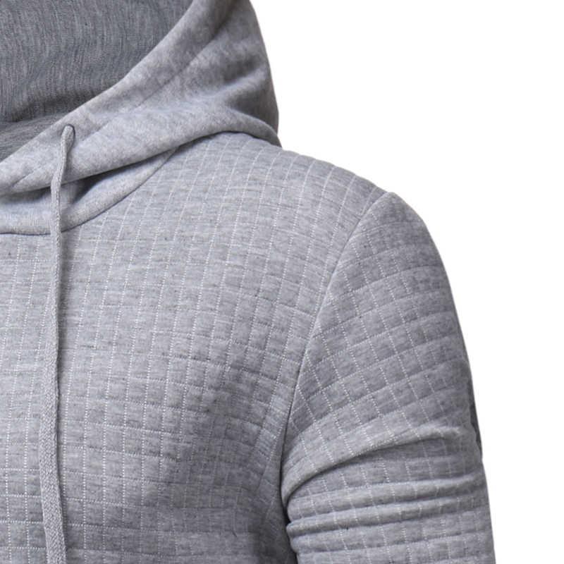 2019 Plaid Hoodies Männer Lange Ärmel Einfarbig Mit Kapuze Sweatshirt Männlichen Hoodie Lässige Sportswear Kostenloser Versand