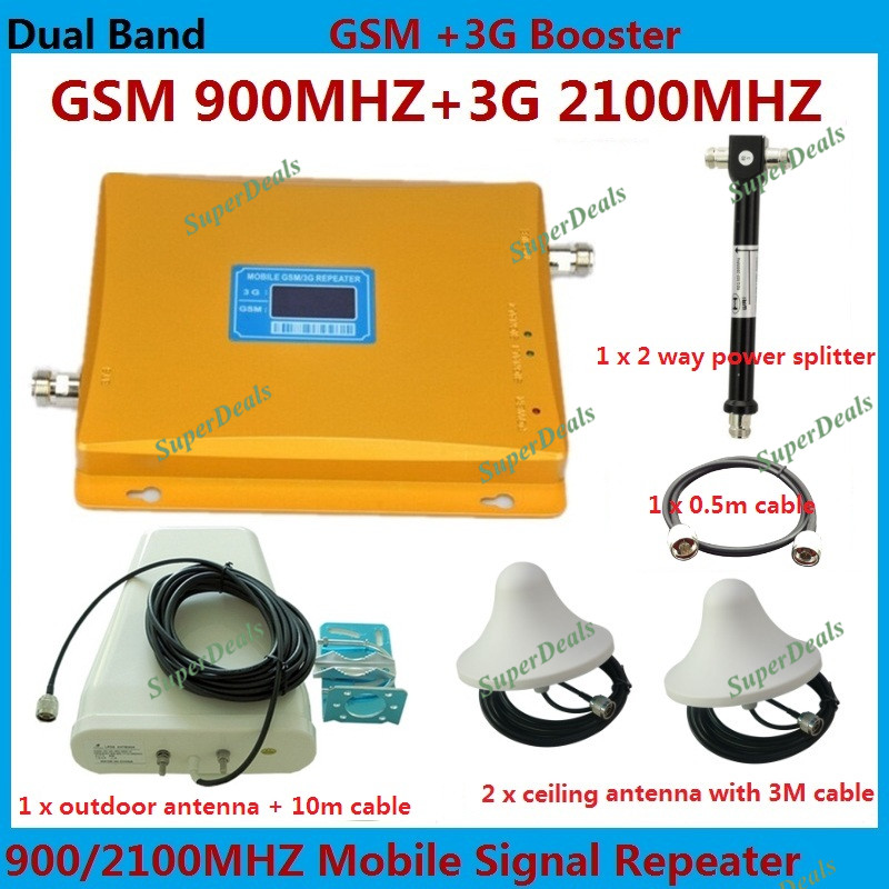 LCD display Dual band GSM 900MHz + 3G W-CDMA 2100mhz cell phone signal booster / repeater / amplifier + 2 sets indoor antennaLCD display Dual band GSM 900MHz + 3G W-CDMA 2100mhz cell phone signal booster / repeater / amplifier + 2 sets indoor antenna