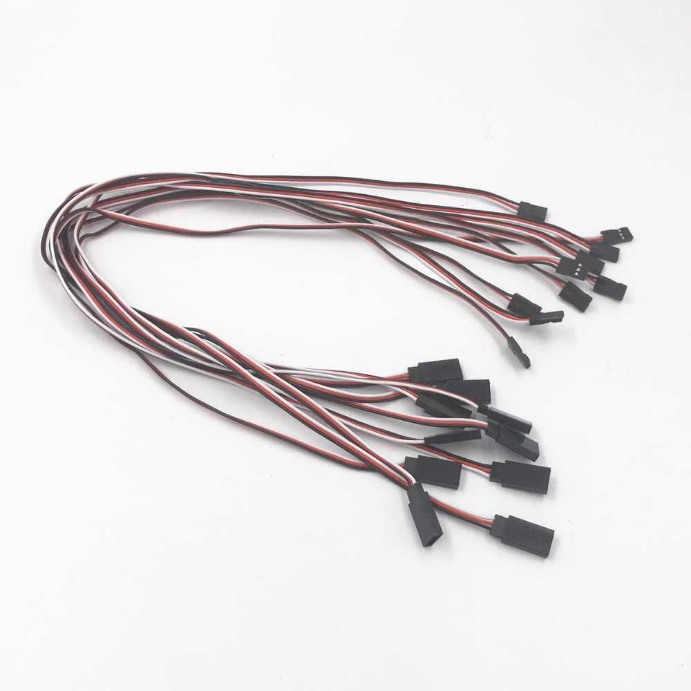 Nowy 10 sztuk 150mm 300mm 500mm rozszerzenie męski na żeński serwo drut kabel przewodzący dla RC Futaba JR 50cm