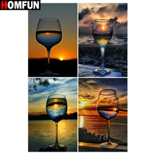 HOMFUN Full Square/Round Drill 5D DIY Diamond Painting Cup sunset scenery 3D Embroidery Cross Stitch 5D Home Decor Gift homfun full square round drill 5d diy diamond painting city scenery embroidery cross stitch 3d home decor gift a01716