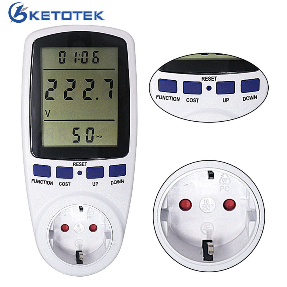 купить EU/BR/FR Plug Electrical Power Energy Monitor AC 230V-250V 50HZ Digital Wattmeter KWh Watt Socket Analyzer Measuring Tool по цене 754.77 рублей