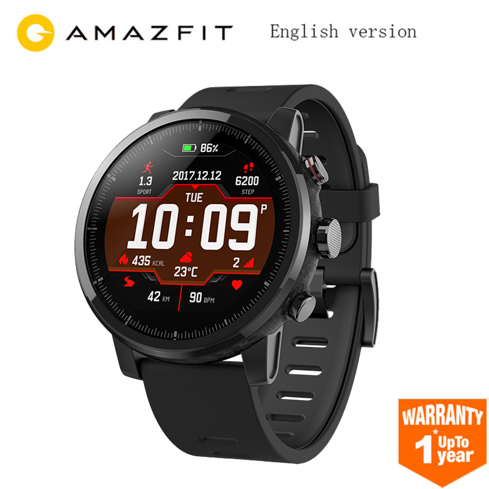 Anglais Version Huami Amazfit Stratos Intelligents Sport Montre 2 GPS 5ATM D'eau 2.5D Écran GPS Firstbeat De Natation Smartwatch Noir