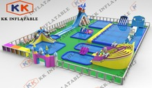 Combination Water Park Giant Playground Water Slide On Land