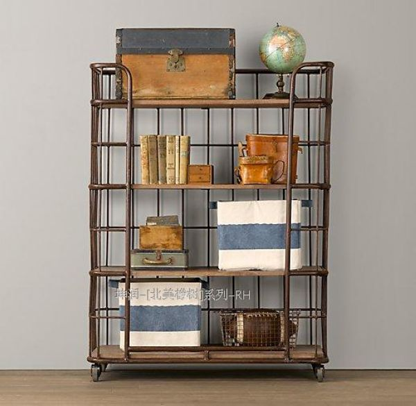 kitchen bookshelf island lighting american village vintage wrought iron wood ikea shelving movable landmark display rack tray
