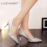 LUZHIMEI Bling Women Wedding Shoes High Heels Ladies Gradient Sexy Fashion Party Pumps Shoes Female Bridal Gold Silver Red Shoes