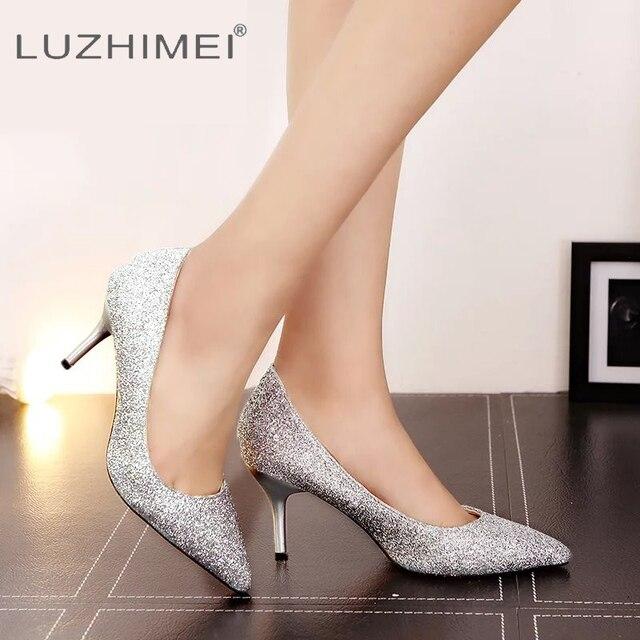 3e7c264b0 LUZHIMEI Gradiente de Bling Sapatos de Casamento Das Mulheres Dos Saltos  Altos Das Senhoras Bombas Sexy