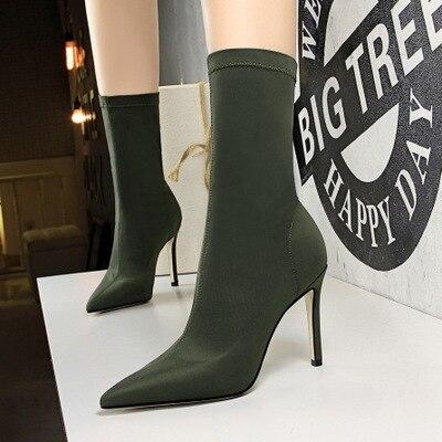 Tacón Nocturno Alto Club Zapatos Señaló verde Botas apricot Simple Las Stiletto Negro Slim Estiramiento Super De Mujeres Sexy 2018 Pedicura Lycra Moda 7q8w8p