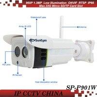 SunEyes ONVIF 960 P SP-P901W 1.3 МП HD Wi-Fi Беспроводная Ip-камера открытый Проект Высокое Качество Массив ИК 25 М Низкой Освещенности SD/TF Карта слот