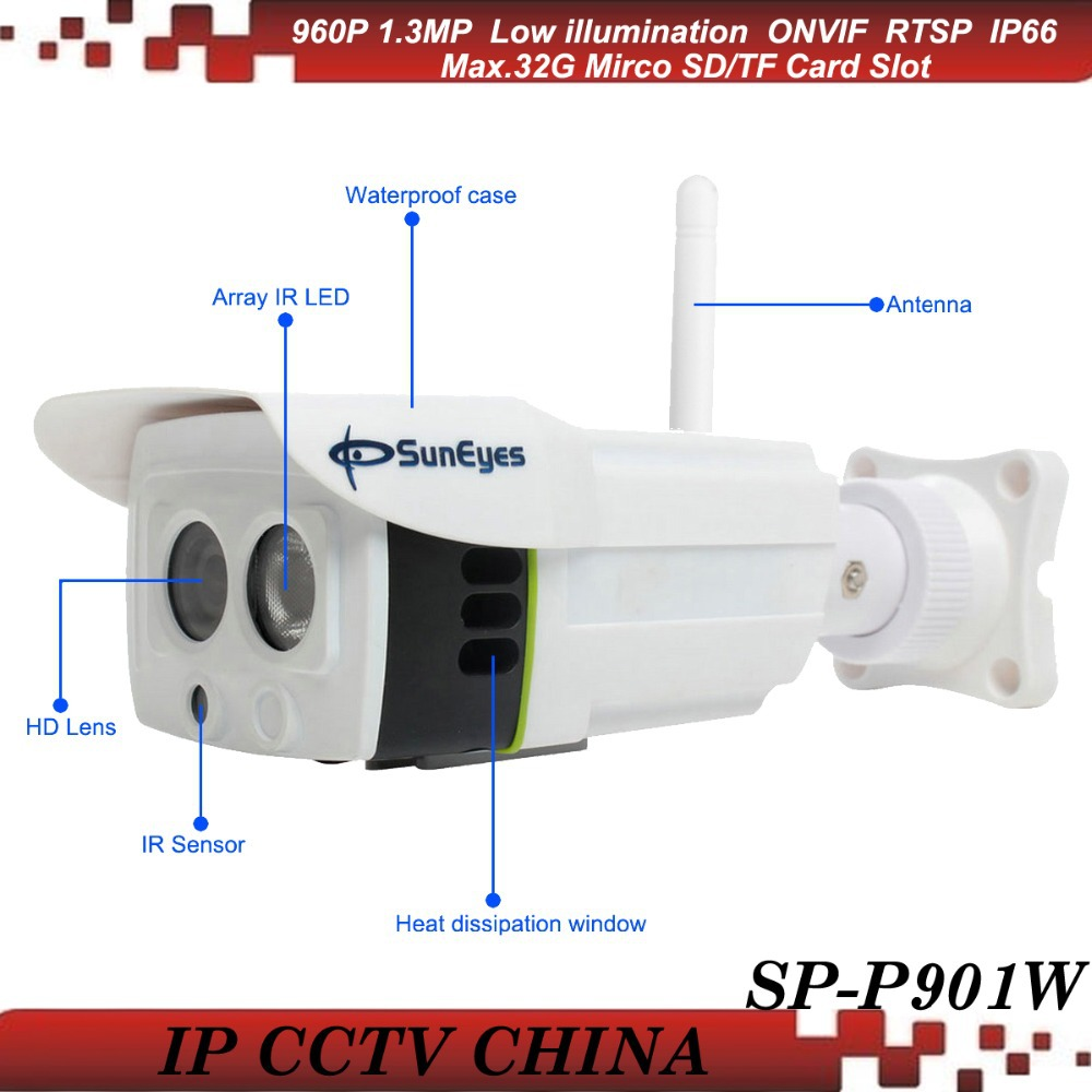 SunEyes SP-P901W ONVIF 960P 1.3 MP HD Wifi Wireless IP Camera Outdoor Project High Quality Array IR 25M Low Lux SD/TF Card Slot suneyes sp p702w┬а720p wireless┬аdome┬аeyeball hd ip┬аcamera┬аw tf onvif motion 2 led ir night vision