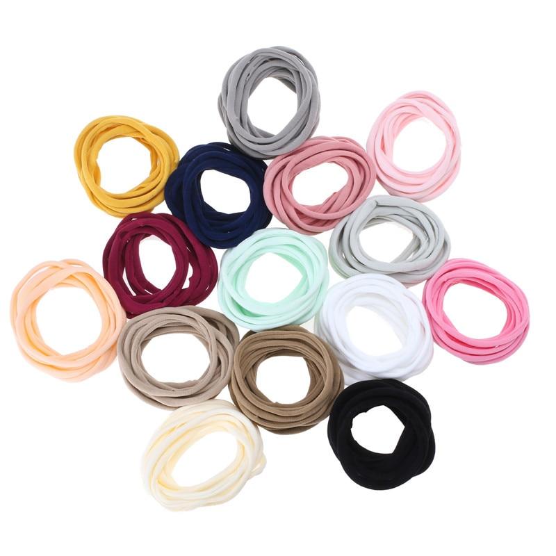 10pcs/lot Nylon Elastic Headbands For Children Diameter DIY Hair Accessory One Size Soild Hairband