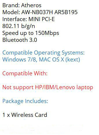 Atheros AR5B195 Wireless Wifi BlueTooth Network Adapter WIFI+BT3 0 Combo  Wireless Half Mini PCI-e Wlan Card for Dell/Acer/Asus