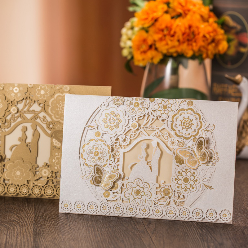 50pcs/lot Laser Cut Bride And Groom Wedding Invitation Cards Hollow Printable Marriage Invitations Card Engagement Party Supply