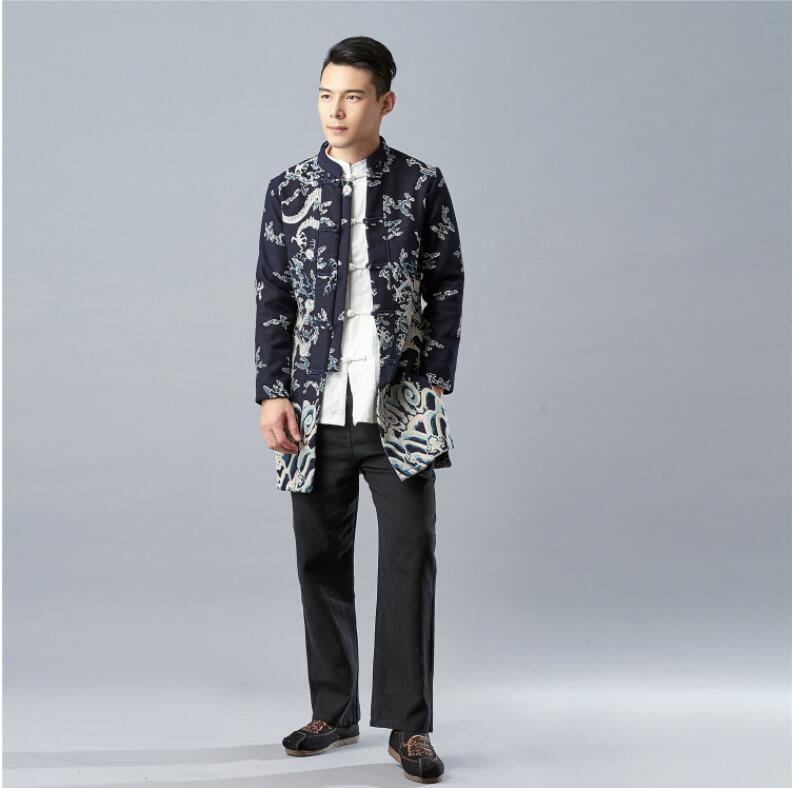 Style Vintage Tradition chinoise hommes Kung Fu petit haut hiver lin Dragon cachemire manteau noir bleu coton Long veste en ouate
