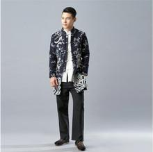 Vintage style Chinese Tradition Mens Kung Fu Shirt Top winter Linen Dragon cashmere coat Black blue cotton Long wadded jacket