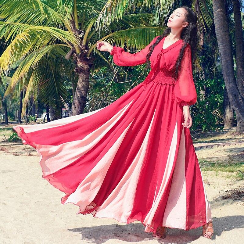 8f9d4ee14388 Autunno Carino Disegno Primavera Al Abiti Vacanza Verde Chiffon Originale  Mare Donne Patchwork rosso Di 6xqZgfw1