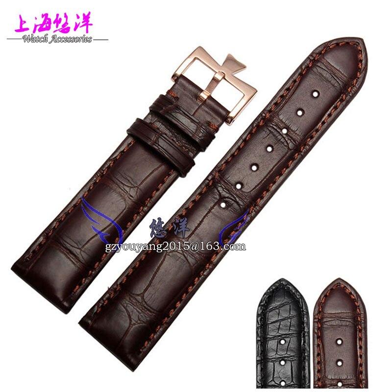 Кожаный ремешок альтернатива denton кожи аллигатора браслет 20 мм Мужской Женский Часы Аксессуары