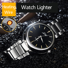 New Rechargeable USB Lighter Watch date clock Electronic Men's Casual Quartz Wristwatches Windproof Flameless Cigarette Lighter