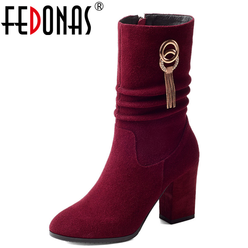 FEDONAS New Arrival Mid-calf Boots High Heels Chains Tassels Wedding Party Shoes Woman Zipper Warm Prom Pumps Female High BootsFEDONAS New Arrival Mid-calf Boots High Heels Chains Tassels Wedding Party Shoes Woman Zipper Warm Prom Pumps Female High Boots