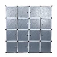 Multi use Modern Storage Cabinet Best Plastic 16 Cube Wardrobe Closet Water proof Clothes Organizer DIY Assemble 140*140*35cm