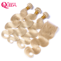 #613 Color Brazilian Body Wave Human Hair 3 Bundles with 4X4 Lace Closure Non Remy Hair Dreaming Queen Hair