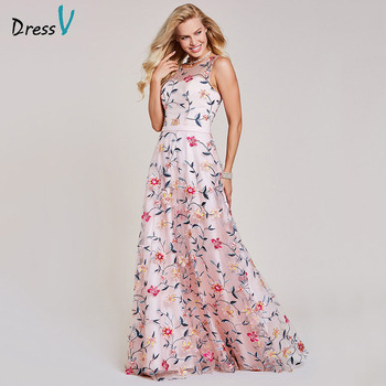 Dressv pink evening dress cheap scoop neck a line embroidery lace floor length wedding party formal dress evening dresses 1