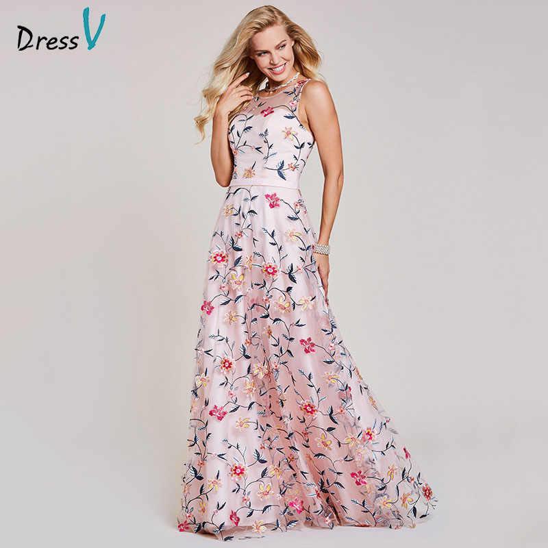 Dressv różowa suknia wieczorowa tanie z wycięciem linia haft koronkowa długość podłogi ślubna formalna sukienka na przyjęcie wieczorowe