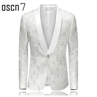OSCN7 الأبيض السترة الرجال يتأهل أزياء فستان الزفاف للرجال الصلبة رجل السترة بدلة عادية سترات الترفيه بليزر masculino