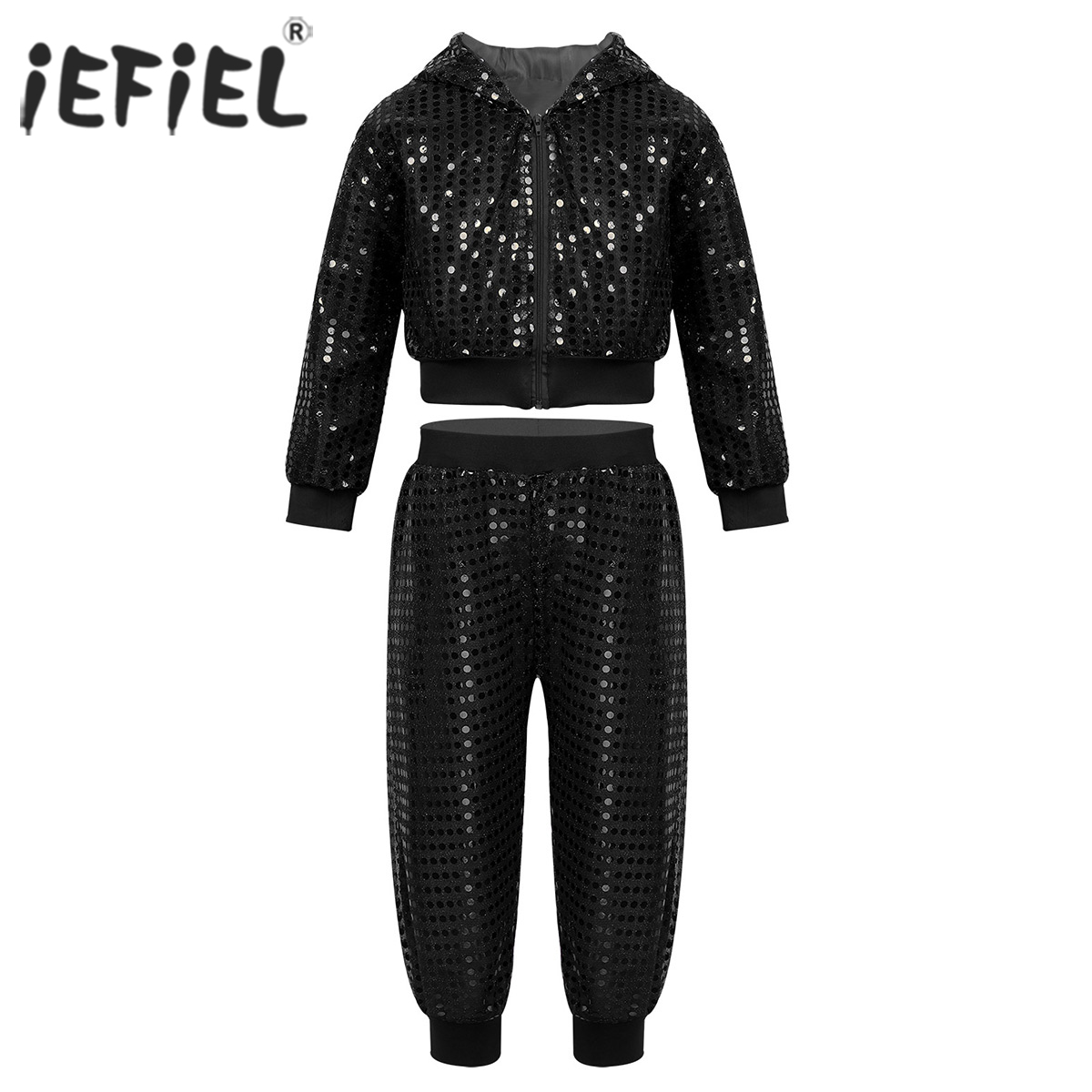 Unisex Kids Boys Girls Hip-hop Jazz Performance Costume Street Dancing Team Wear Shiny Sequins Hooded Tops with Pants Dancewear